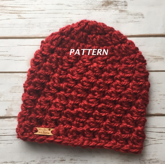 Textured Crochet Beanie Hat Pattern Adult Hat Pattern The Etsy
