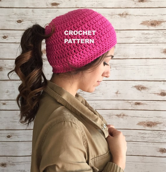 Marathon Runner's Beanie Hat Pattern Ponytail Hole Hat Etsy Extraordinary Crochet Hat With Ponytail Hole Pattern