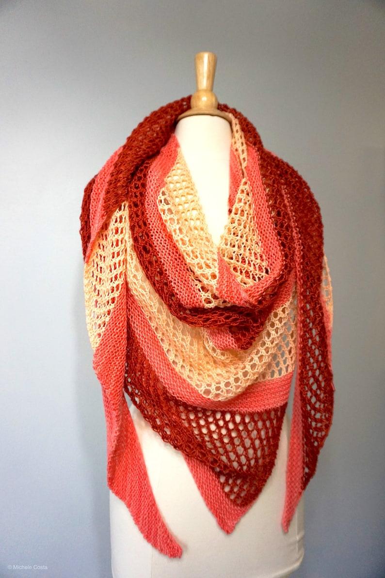 Beginner Lace Triangle Shawl Wrap Knitting Pattern Easy ...