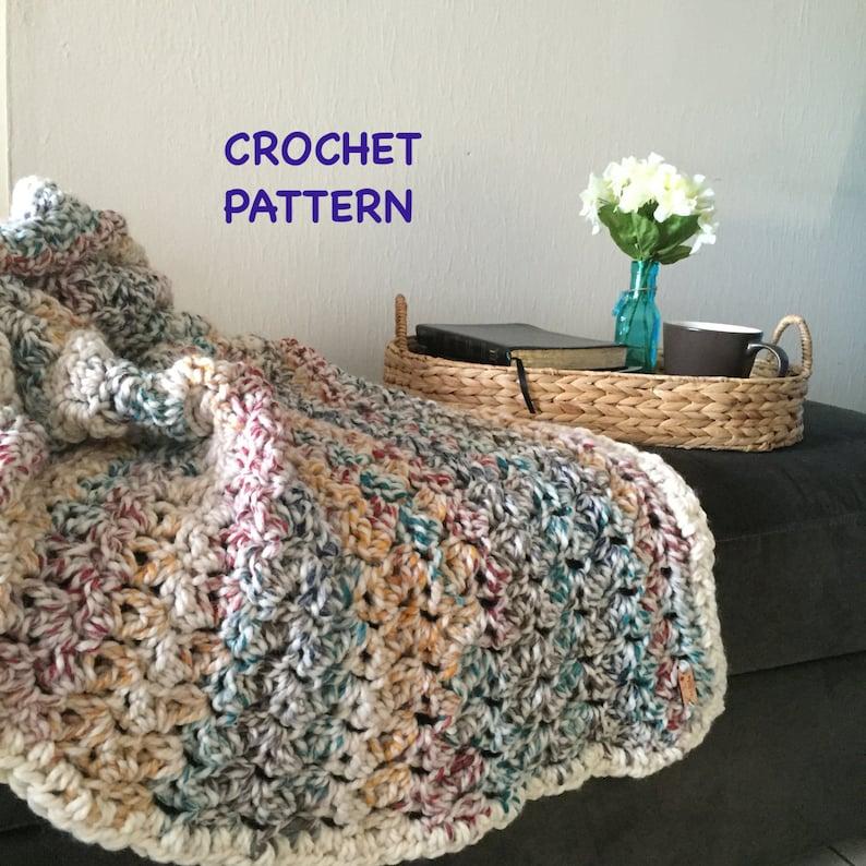 Easy Crochet Throw Pattern Beginner Crochet Pattern Addison image 0
