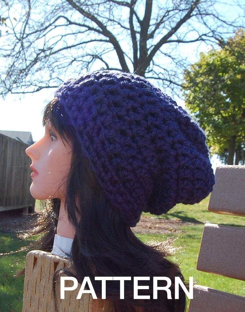 157507d9c49 Brimless Slouchy Beanie Crochet pattern Super Easy Crochet