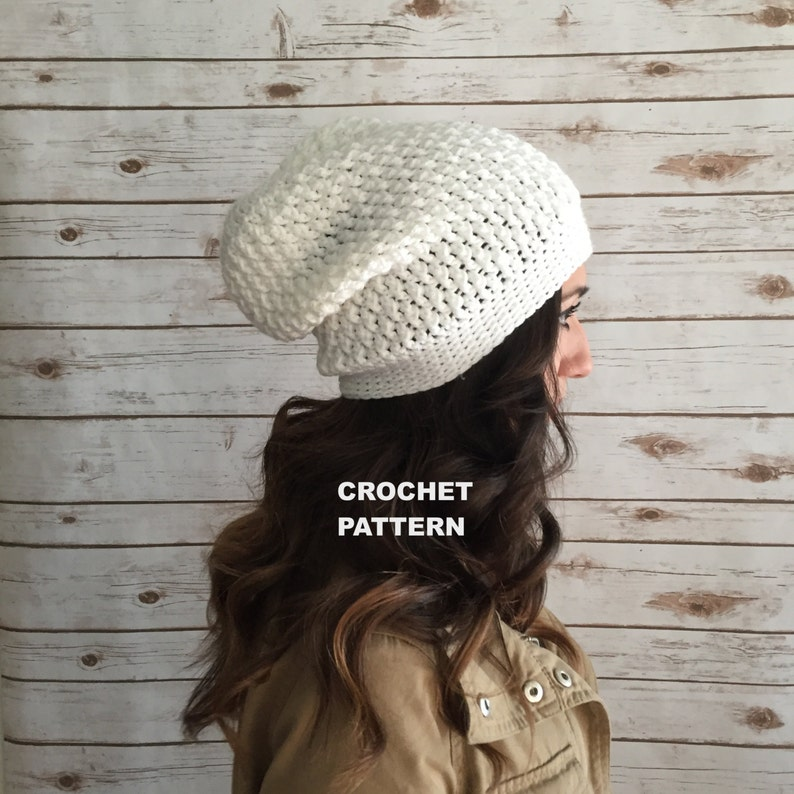 6bccd8150a5 Crochet Pattern Textured Slouchy Beanie Hat Kelsey Slouchy