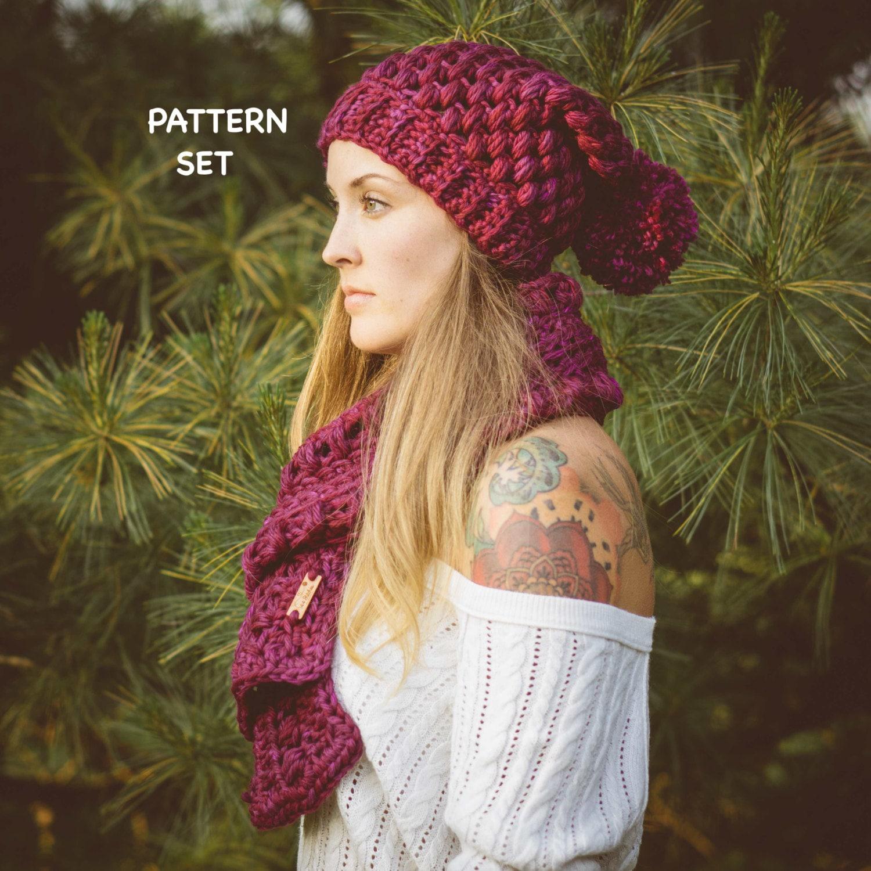 Puff Stitch Crochet Hat Scarf Pattern Set Chunky Crochet Etsy
