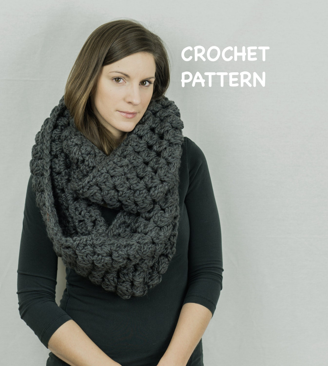 Oversized Cluster Scarf Pattern Easy Crochet Infinity Scarf Etsy