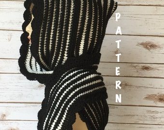 Crochet Hood Scarf Pattern, Reversible Pixie Hooded Scarf Pattern, Crochet Scoodie Scarf PATTERN