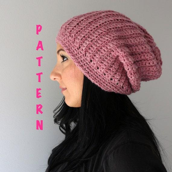 49e19c1a146 Crochet Pattern Ribbed Slouchy Beanie Hat Crochet Ribbed