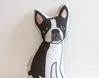 Boston Terrier Pillow // Dog Shaped Pillow