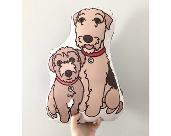 Custom Illustrated Pet Pillow Featuring Two Pets