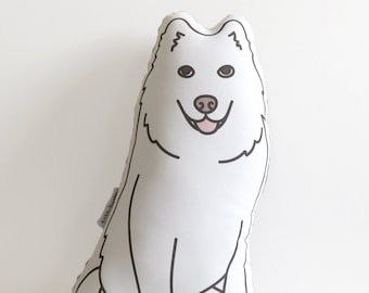 White Dog Pillow // Illustrated Dog Pillow