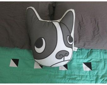 Boston Terrier Face // Illustrated Dog Pillow