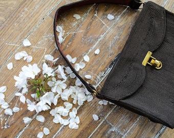 1940s corde purse | brown 1940s purse | 1940s vintage purse | brown vintage handbag