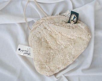 vintage cream crocheted purse