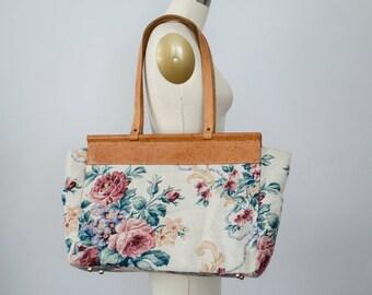 vintage floral bag / large oversized market bag / leather and canvas bag