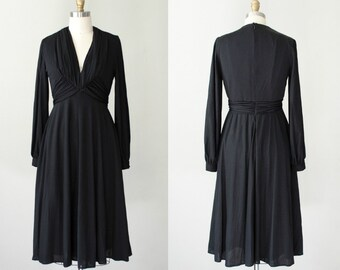 1960s vintage dress / black long sleeve dress / Shannon Rodgers for Jerry Silverman / medium