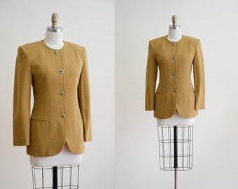 Vintage Blazer 80s  M  Mustard Yellow White Constructed Minimalist Etui Blazer  Mondrian Style Elegant Jacket