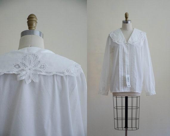 Edwardian style blouse | white cotton blouse | Bat