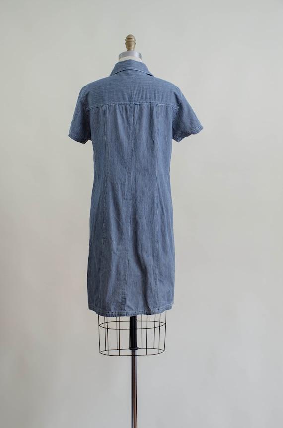 denim mini dress | 90s y2k vintage dark wash shor… - image 7