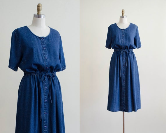 oversized denim dress | denim midi dress