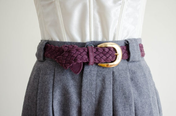 braided leather belt | purple suede belt
