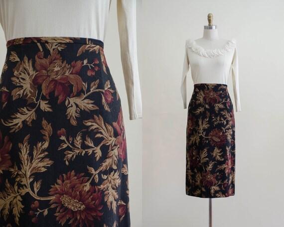 black floral wool skirt | wool midi skirt