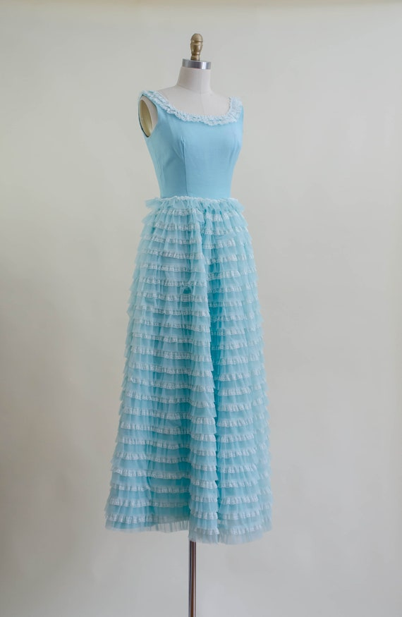 50s blue tulle ball gown   aqua turquoise white l… - image 7