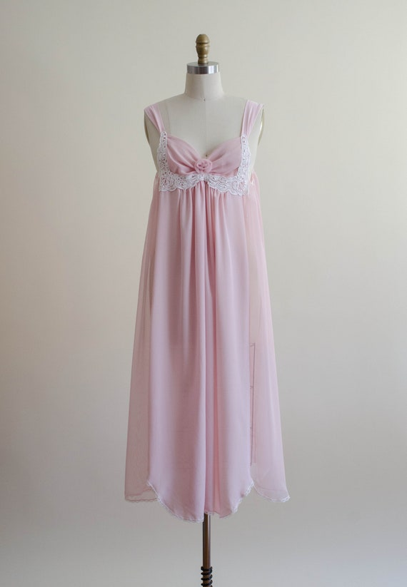 dreamy pink chiffon nightgown | empire waist nigh… - image 2