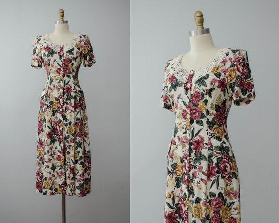 romantic floral dress | lace collar dress