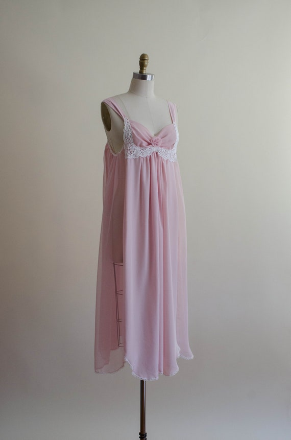 dreamy pink chiffon nightgown | empire waist nigh… - image 5