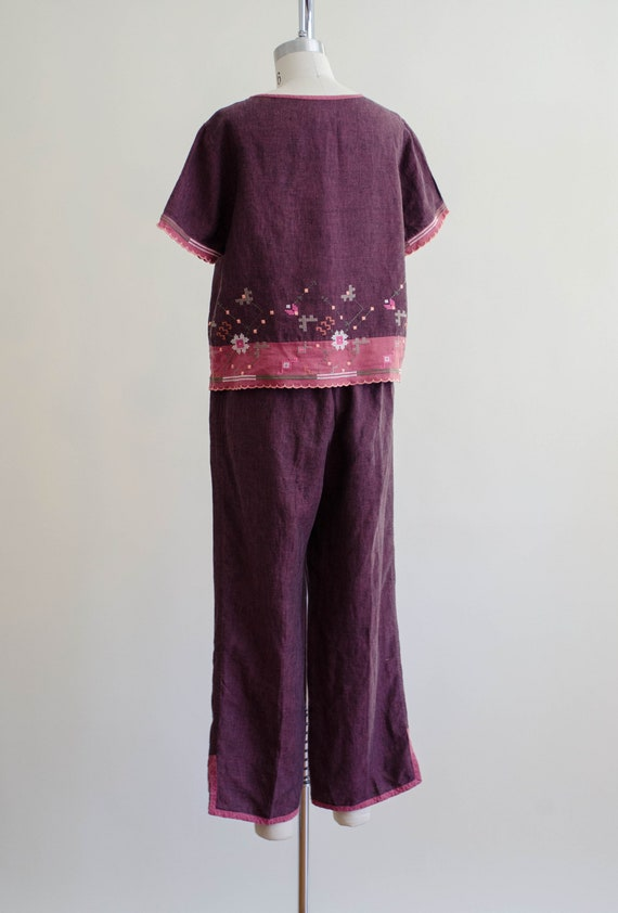 linen lounge set | burgundy embroidered lounge set - image 9