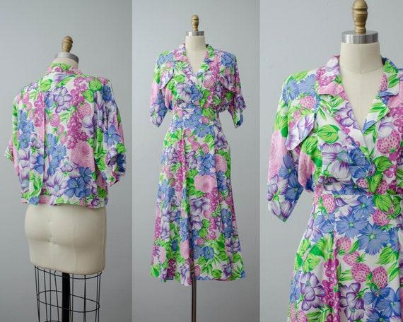 neon floral skirt set | blouse and skirt set