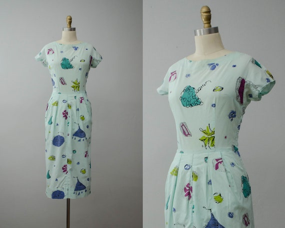1950s cotton dress | vintage novelty print dress |