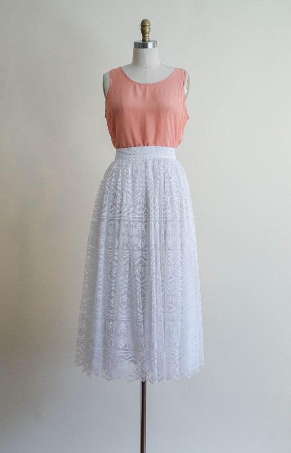 white lace midi skirt | full white lace skirt - image 3