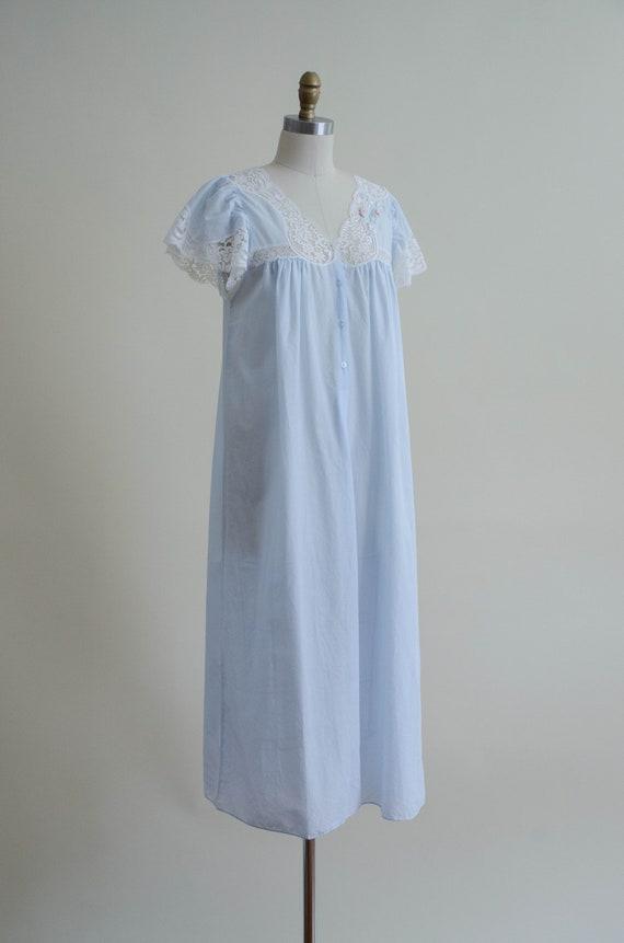 pale blue house dress | lace trim house coat - image 6