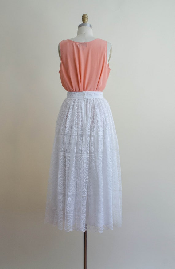 white lace midi skirt | full white lace skirt - image 8