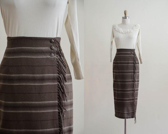 brown wool blanket skirt | Ralph Lauren wrap skirt