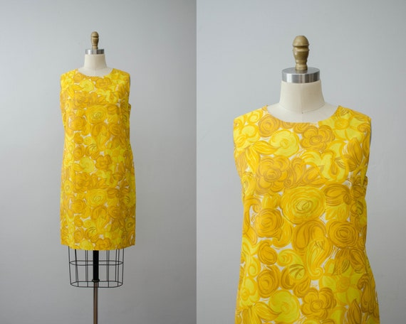 bright yellow shift dress | 1960s sleeveless dress - image 1