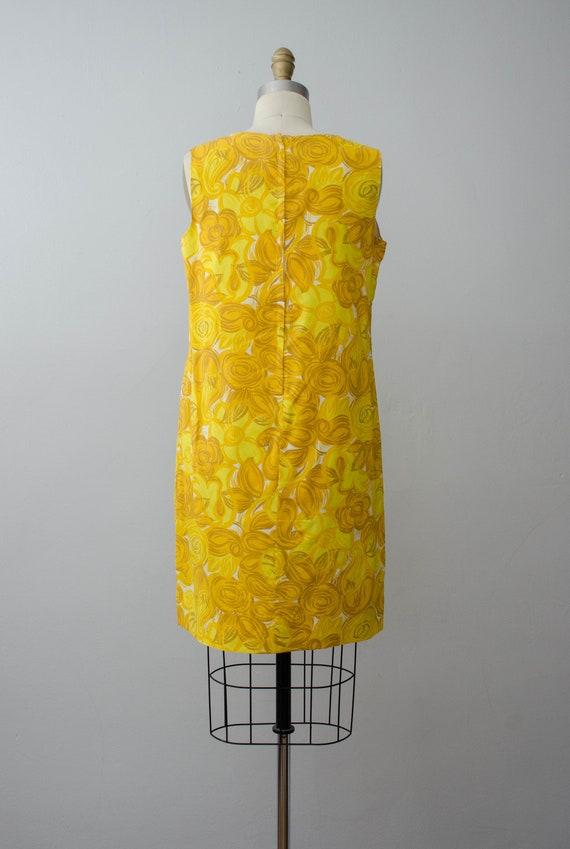 bright yellow shift dress | 1960s sleeveless dress - image 6