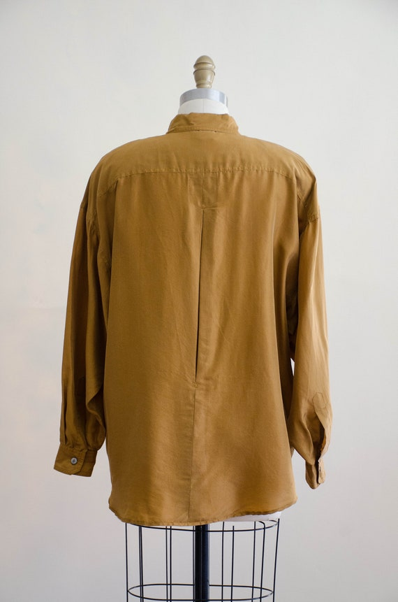 Mother-of-pearls Button on back; Silk Shirt; Pure Silk Top; Long Sleeve Golden Ocher Color Silk Blouse with Two Pockets and Nacre