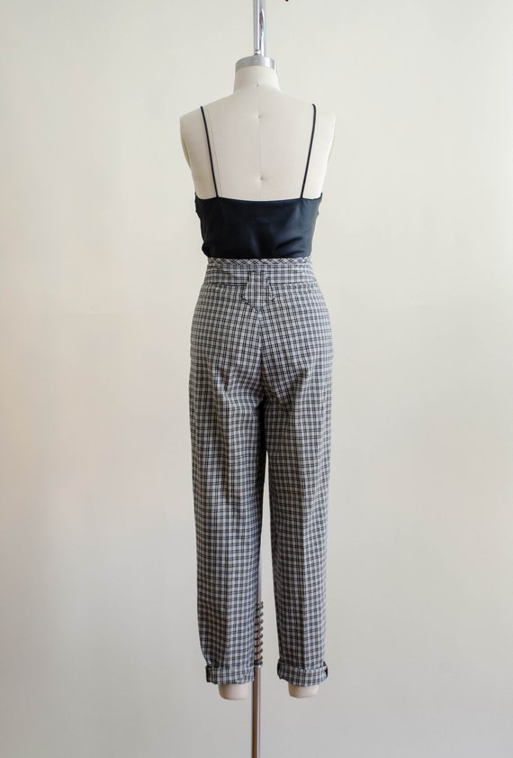 high waisted pants | 80s black and white plaid tr… - image 7