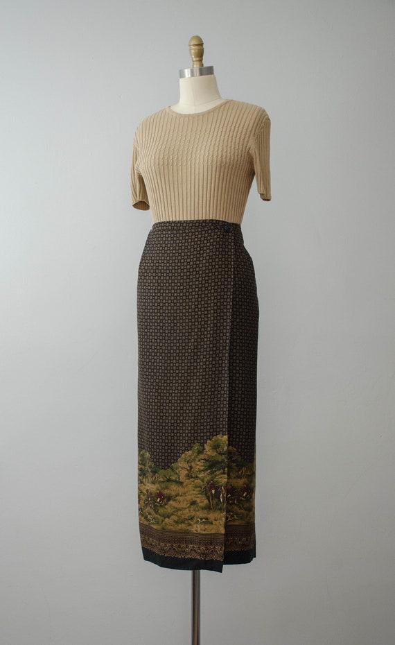 hunting scene maxi skirt | maxi wrap skirt - image 6