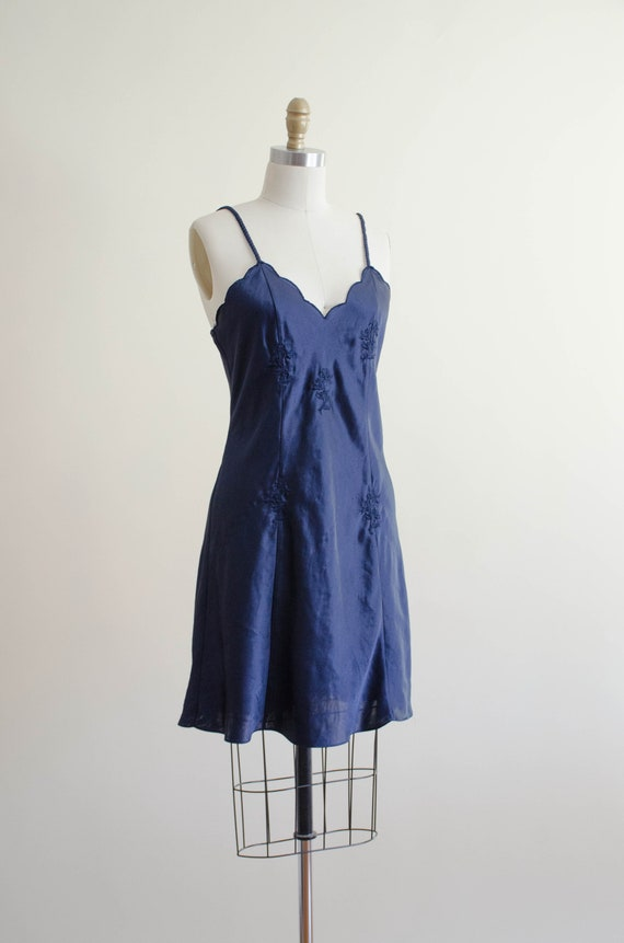 navy silky nightgown   embroidered nightgown - image 4