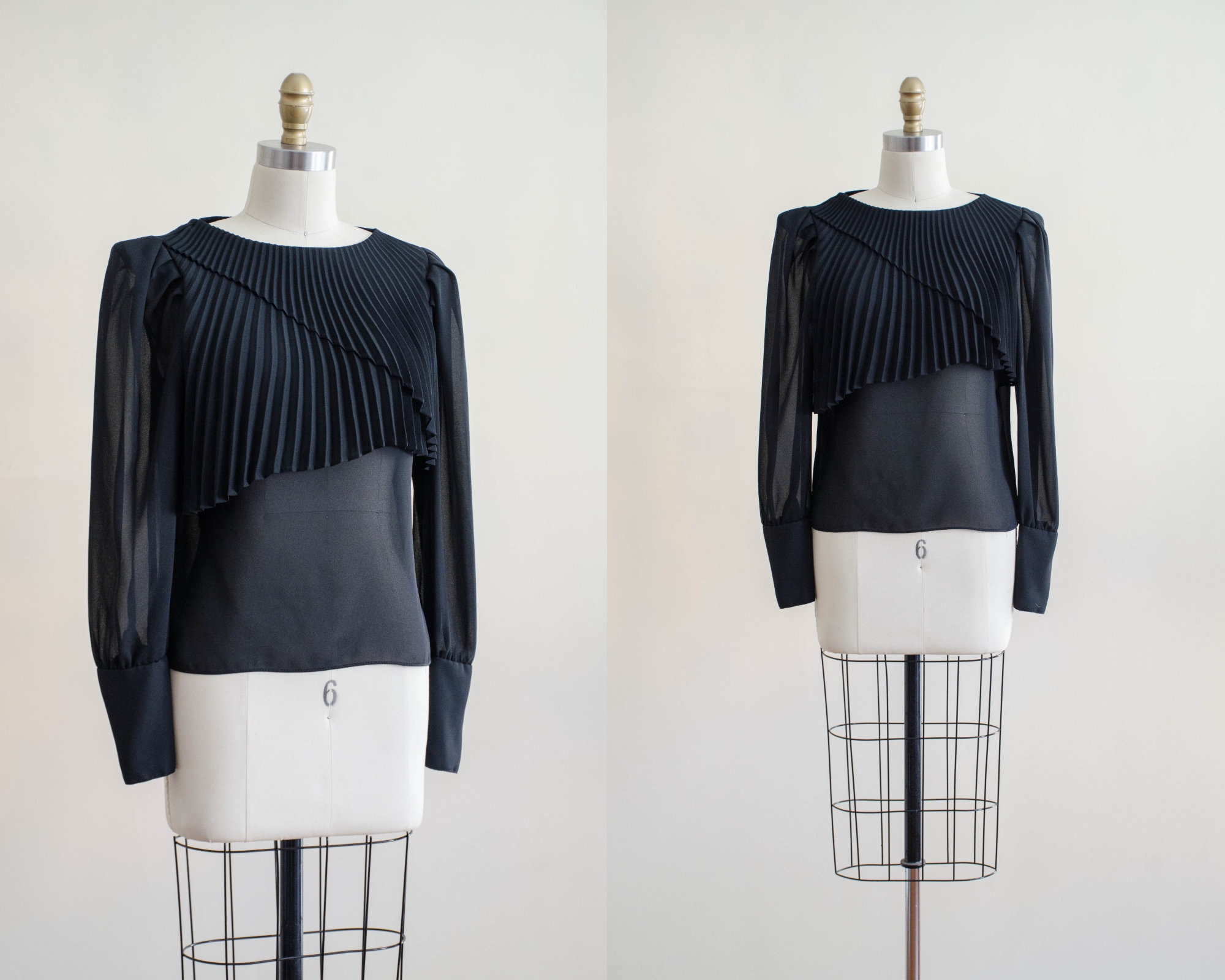 80s Tops, Shirts, T-shirts, Blouse   90s T-shirts Sheer Black Vintage Shirt  80S See Through Ruffled Collar Blouse $38.00 AT vintagedancer.com