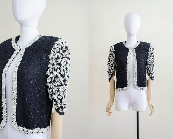 black beaded bolero | sequin jacket