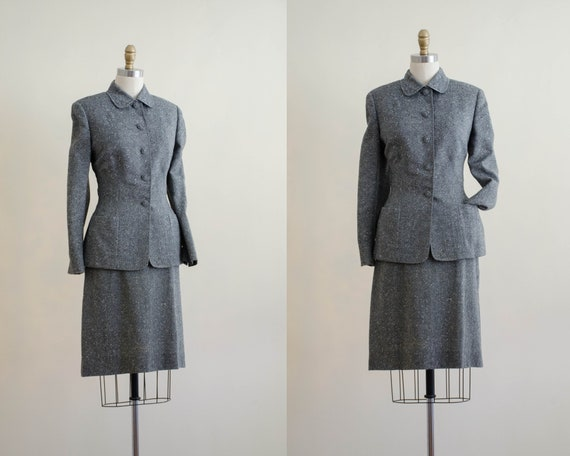1940s wool suit | gray tweed skirt suit | Tailorbr