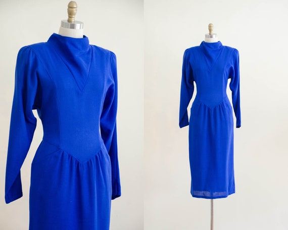 blue wool dress | long sleeve blue dress
