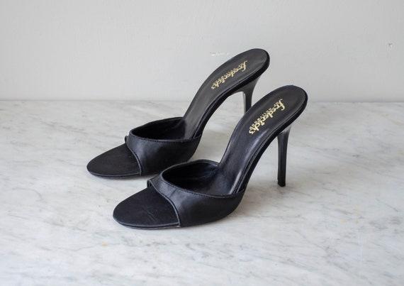 Fredericks of Hollywood black silk heels   90s vi… - image 3