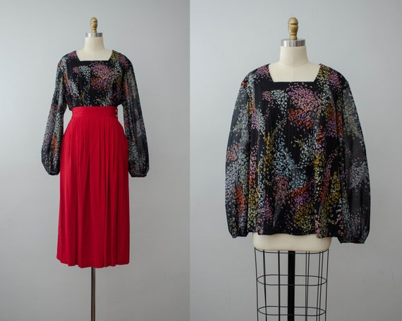 plus size blouse | black floral peasant blouse | b
