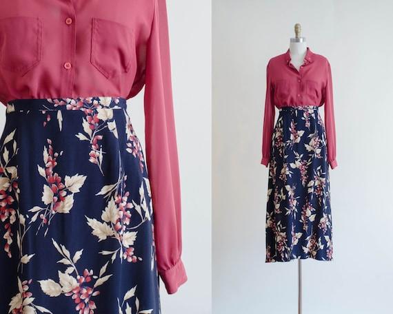 navy floral skirt | floral midi skirt