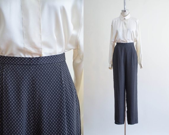 high waisted pants | black patterned trousers
