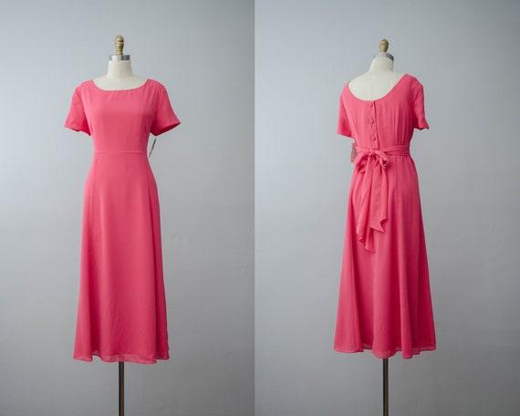 pink midi dress | bubblegum pink chiffon dress